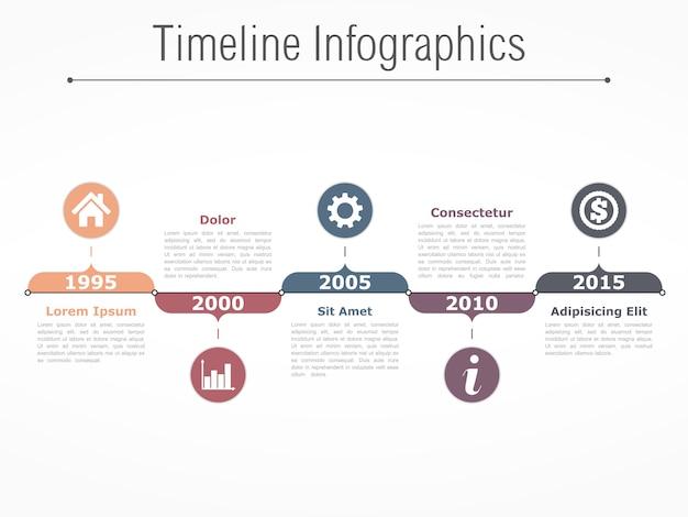 Horizontal timeline infographics design template Premium Vector