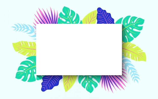 Horizontal tropical summer frame Free Vector