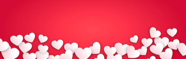 Horizontal valentine's day banner Free Vector