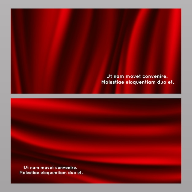 Horizontal and vertical red silk fabric banners Premium Vector