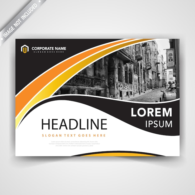 Horizontal wavy brochure design Free Vector