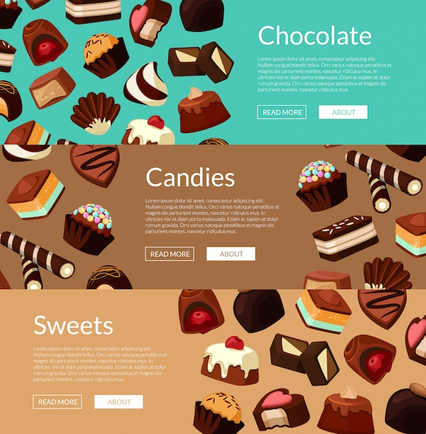 Horizontal web banner set and poster  with cartoon chocolate candies Premium Vector