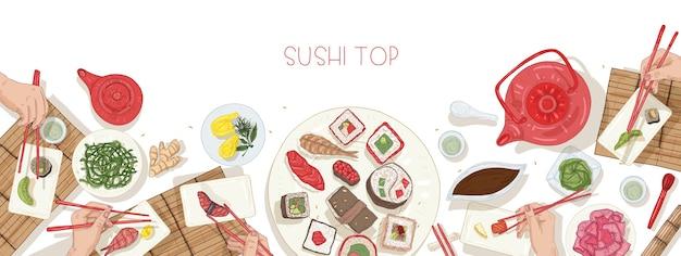 日本食と寿司、刺身、箸でロールパンを持っている手でいっぱいのテーブルと水平方向のwebバナーテンプレート Premiumベクター