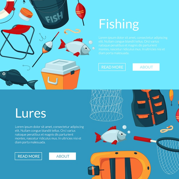 Horizontal web banners illustration with cartoon fishing equipment Premium Vector