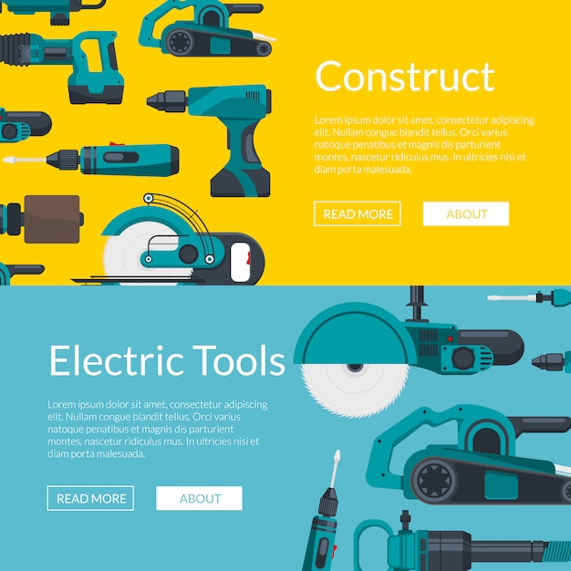 Horizontal web banners poster  with electric construction tools Premium Vector