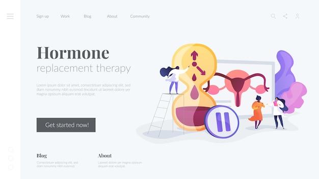 Modello di pagina di destinazione della terapia ormonale sostitutiva Vettore gratuito