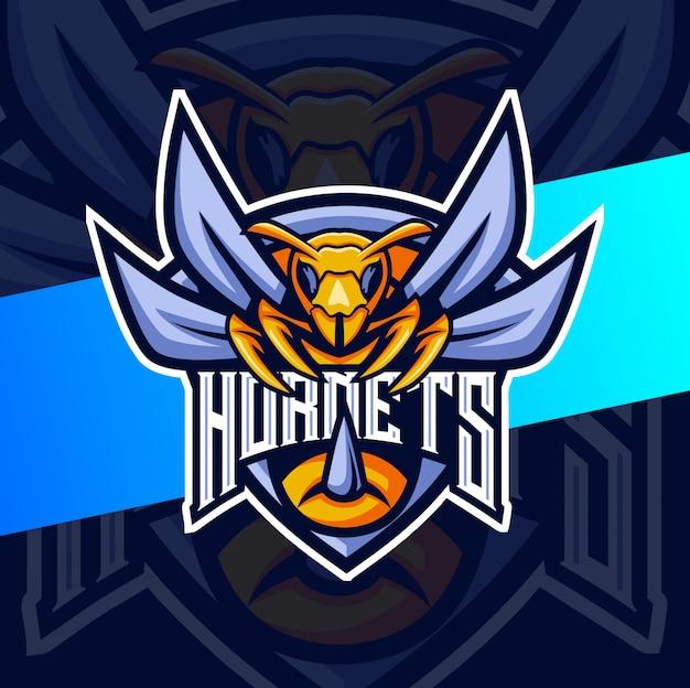Hornet bee талисман киберспорт дизайн логотипа Premium векторы
