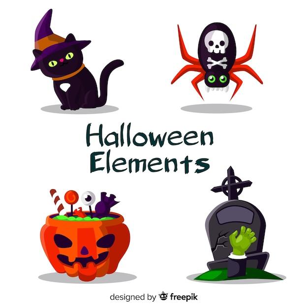 Horrific halloween elements with flat design Free Vector
