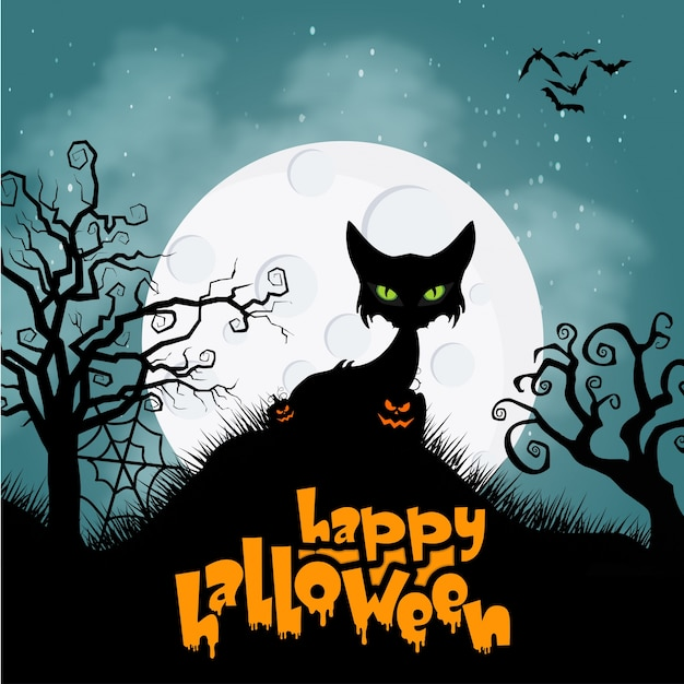 Horror cat for halloween background Free Vector