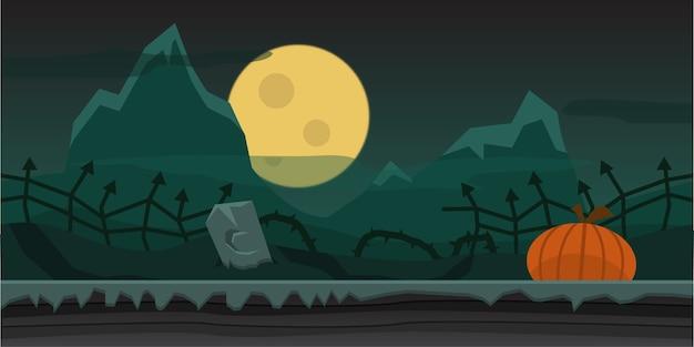 ホラーハロウィーンの夜の背景 Premiumベクター