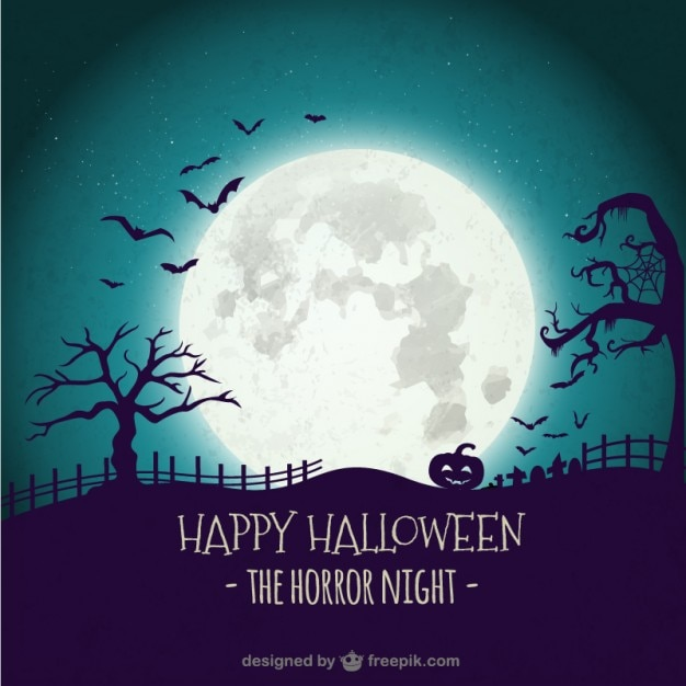 Horror night background Free Vector