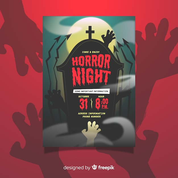 Horror night halloween party poster template Free Vector
