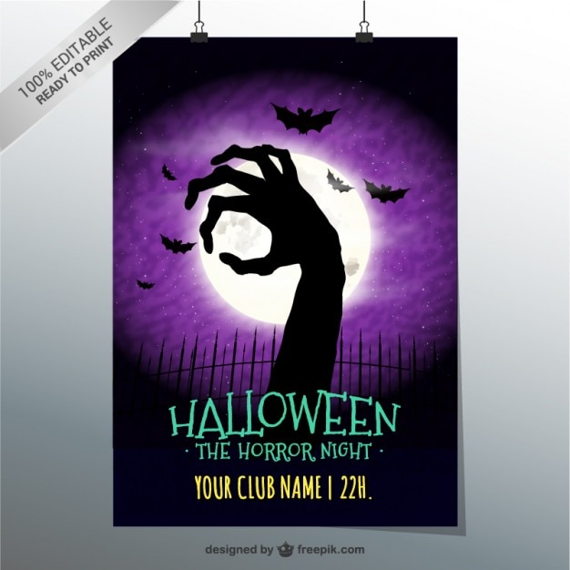 Horror night party poster Free Vector