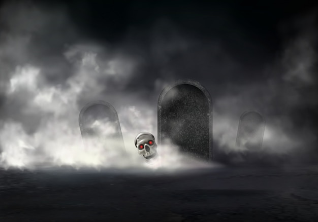 Horror on old cemetery at foggy night Free Vector