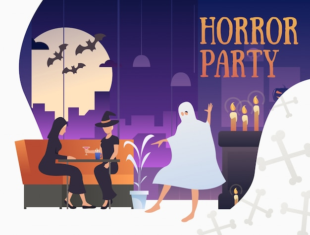 Horror party banner with halloween characters in pub Free Vector
