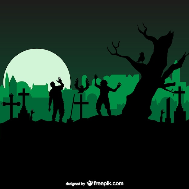 Horrow graveyard with zombies Free Vector