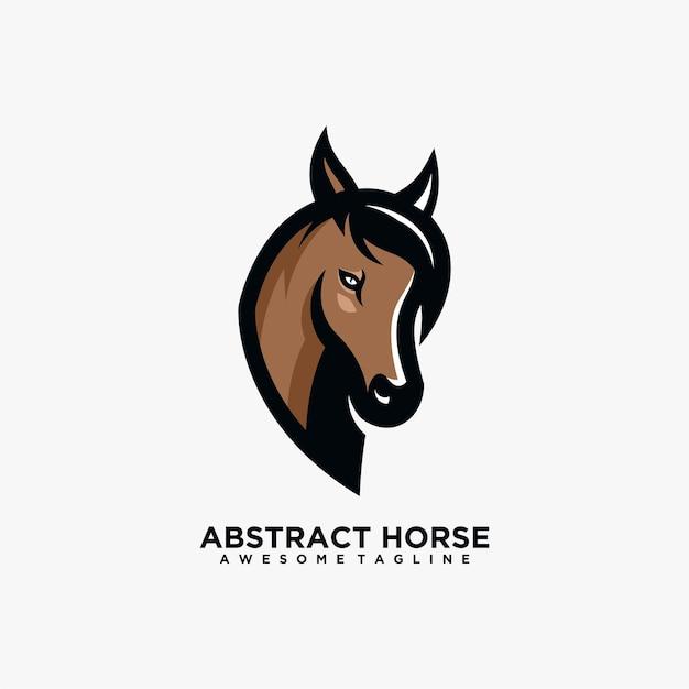 Horse abstract logo design template vector flat color Premium Vector