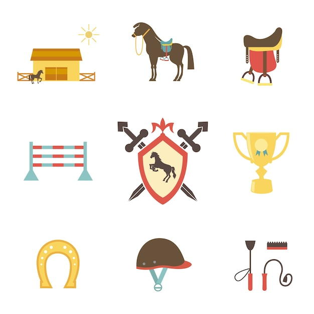 フラットスタイルの馬と馬術のアイコン 無料ベクター