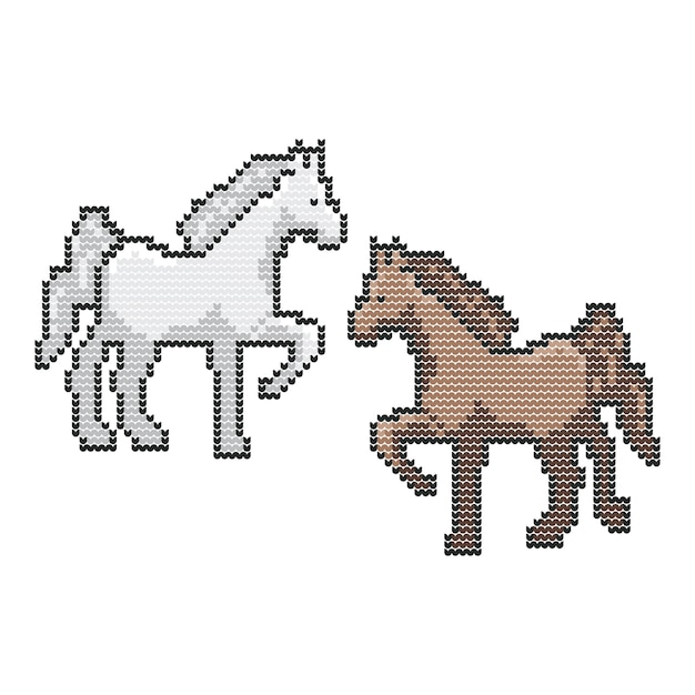 Horse Animal Christmas Sweater Knitted Pixel Vector Art