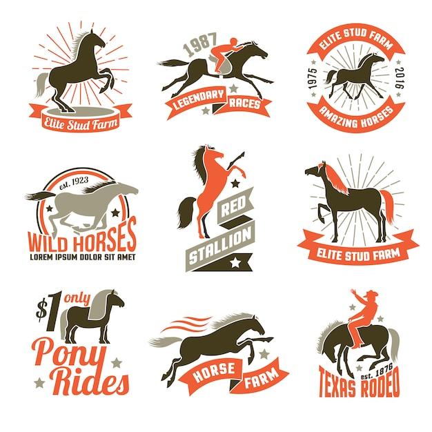 Emblemi di etichette di allevamento di cavalli impostati Vettore gratuito