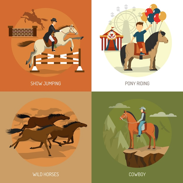 Horse breeds concept icons square Free Vector