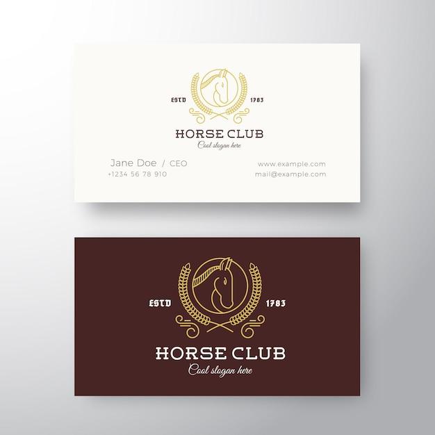 馬クラブリーグ抽象的な名刺テンプレート。 Premiumベクター