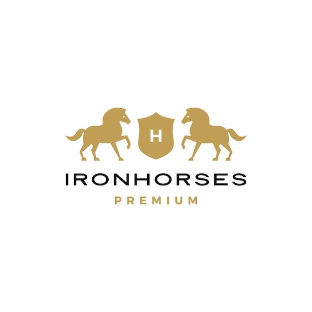 Horse coat of arms logo  icon Premium Vector