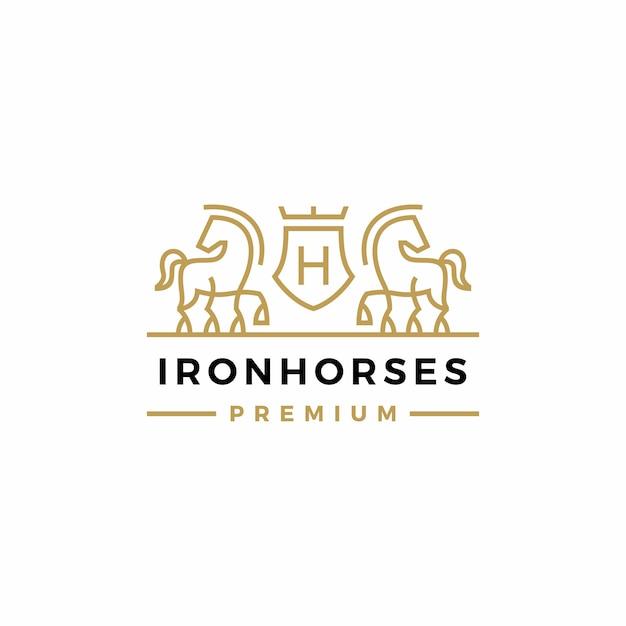 Horse coat of arms logo vector Premium Vector