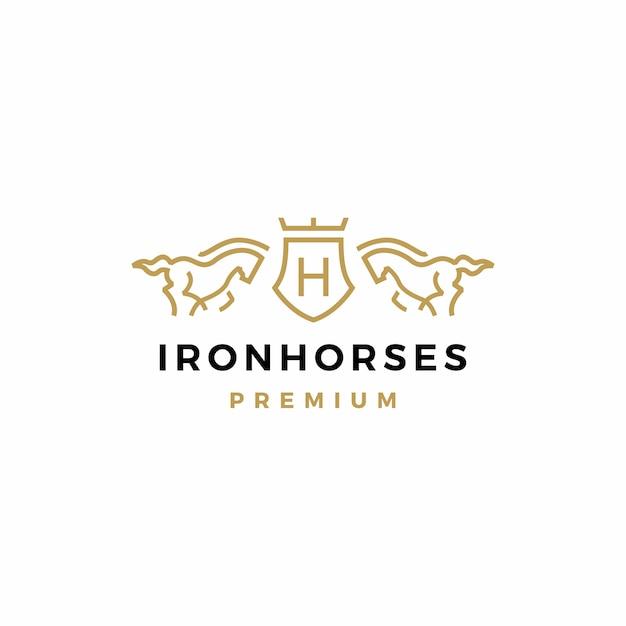 Horse coat of arms logo Premium Vector