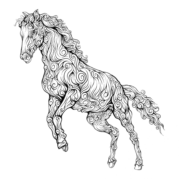Horse decorative in hand drawing Premium Vector