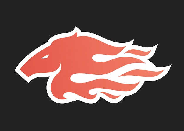 Horse fire logo icon illustration for branding, car wrap decal, sticker and stripes Premium Vector
