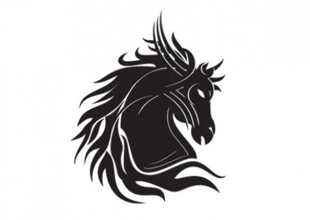 Horse head silhouette tribal tatoo template Vector | Free ...
