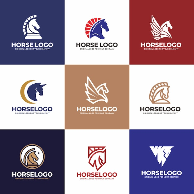 Horse logo design. creative unique business logo design collection. Premium Vector