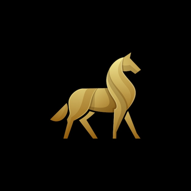 Horse logo gold color template Premium Vector