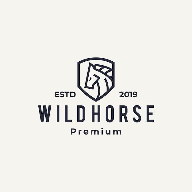 Лошадь логотип значок линии искусства наброски Premium векторы