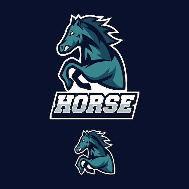 Horse logo mascot esports gaming Vector | Premium Download