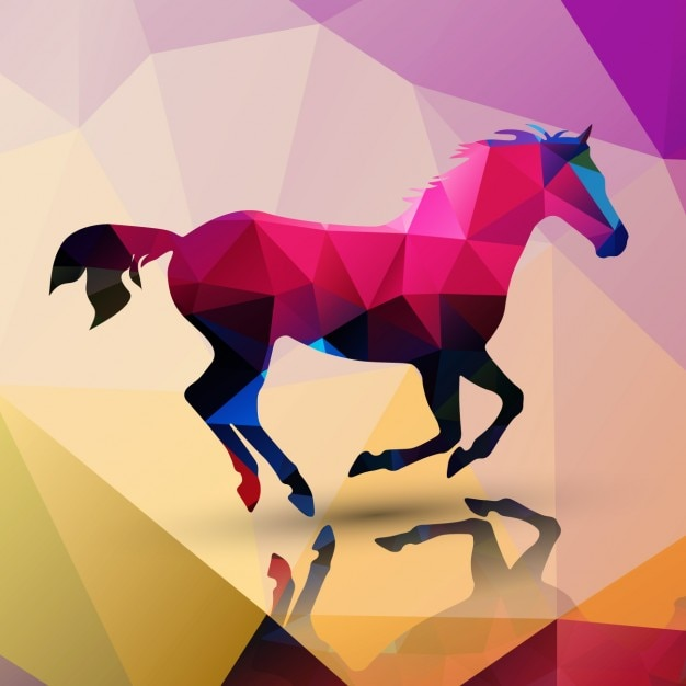 Horse made of polygons background Free Vector