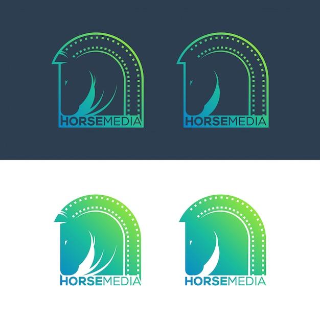 Horse media logo concept illustration. Premium Vector