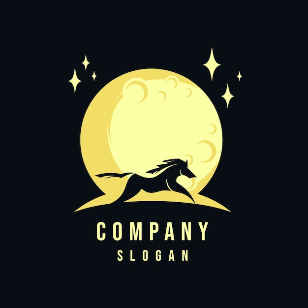 Horse and moon logo Premium Vector