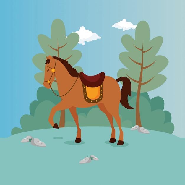 Лошадь принца в пейзаже Бесплатные векторы