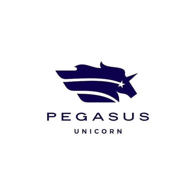 Horse pegasus unicorn star wing logo Premium Vector