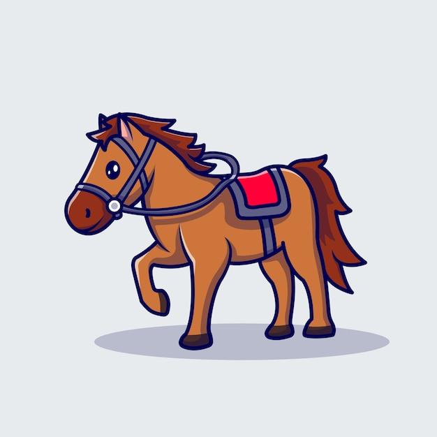 Horse racing cartoon icon illustration. Free Vector