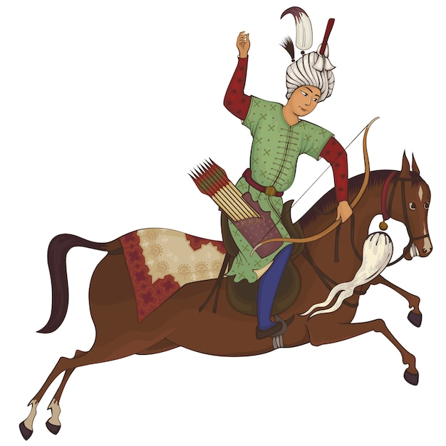 Horse rider. persian miniature stylized illustration. Premium Vector