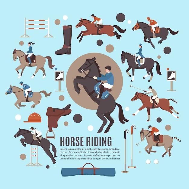Horse riding flat Free Vector