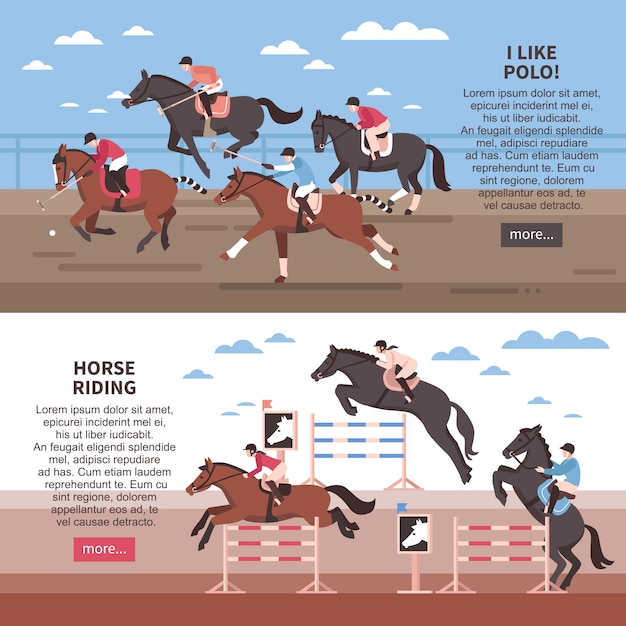 Horse riding and polo banner set Free Vector
