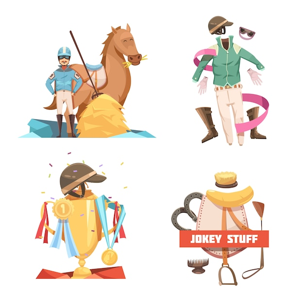 Horse riding retro cartoon 2x2 design compositions with jockey stuff and champion cup flat vector illustration Free Vector
