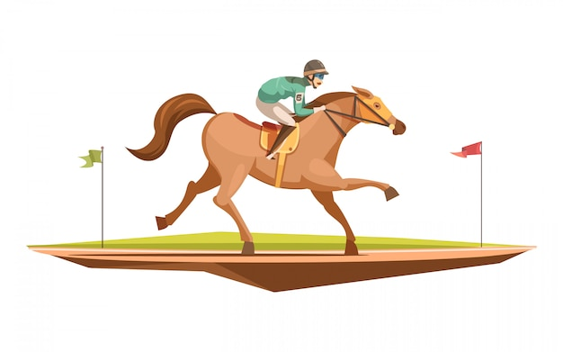 Horse riding retro design concept in cartoon style with jockey on galloping horse flat vector illustration Free Vector