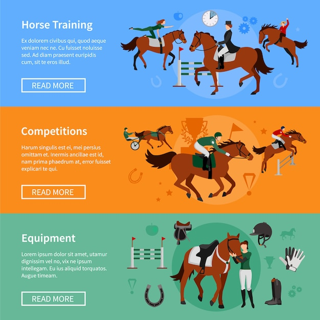 Horse riding sport banners with elements of ammunition and riders employed in horse training Free Vector
