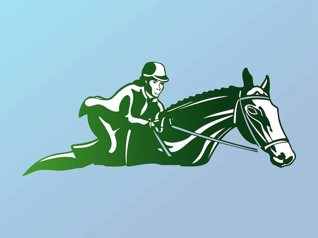 Horse riding woman vector logo Free Vector