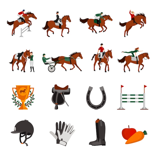 Horse rising sport flat color icons with rider on horseback jockey in carriage horseshoe fence prize Free Vector
